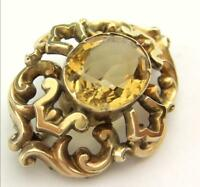 Fabulous Victorian Circa 1890 Gold And Large Citrine Brooch
