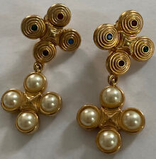 Authentic Swarovski Dangle Clip On Earrings Gold Plated With Pearls