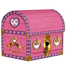 Pack De 4 Rosa Treasure Chest Tarjeta Cajas - 10 Cm-Rosa Princesa Fiesta Decoración