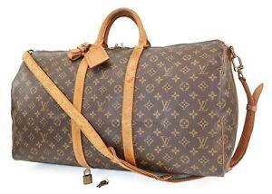 Auth LOUIS VUITTON Keepall Bandouliere 55 Monogram Canvas Duffel Bag #40093