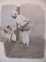 Simili Aquarelle L'oeuvre de Zola 1898 par H Lebourgeois Le ventre de Paris