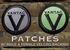 Vantac Embroidered Patches, 1 Green & 1 Grey, with male and female velcro