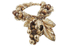 Vintage 1950s Signed Napier Brown Moonglow Grape Runway Statement Charm Bracelet