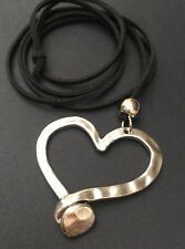 Large Statement Hammered Heart Pendant on long Suede necklace Lagenlook•Gift