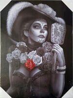 DGA Day of the Dead Dia de Los Muertos Canvas Wall Art 12x16 Inch Roses Catrina