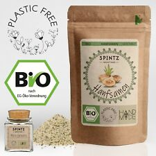 750g Bio Hanfsamen geschält - vegan Hanf Samen, Hanfsaat + Gewürzglas - Rohkost
