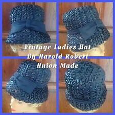 Vintage Ladies Hat Harold Robert New York Dark Blue Bucket Bow On Front 21 1/2""