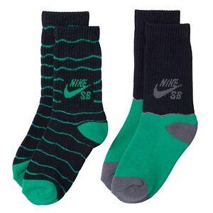 NEW Nike 2-pk. Boys Striped High Crew Socks Size:  S 3Y-5Y Green/Black/Gray New