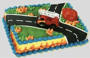 Bakery Crafts Fire Rescue Cake Topper Figure Truck & Hat ICX-444C