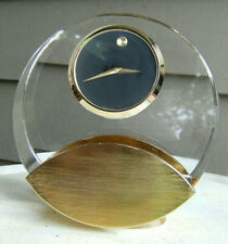 MOVADO Gold & Crystal quartz desk  mantel shelf clock. Classic modern design.