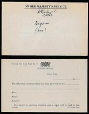 FIJI 1968 OFFICIAL REPLY CARD UNUSED + SIGNED + DATED NAGARA