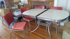 RETRO 1950's Kitchen Table & 4 Chairs Kitchen Dinette VINTAGE Red White