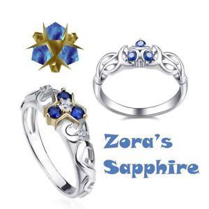 Zelda Breath of the Wild Zora's Sapphire Engagement Wedding Ring