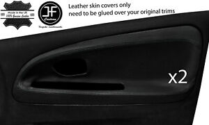 BLACK STITCH 2X FRONT DOOR CARD TRIM COVERS FOR MITSUBISHI EVO 4 5 6 STYLE 2