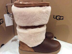 New in box UGG Reykir Waterproof Chestnut Suede SHEEPSKIN BOOTS, size 5 women's
