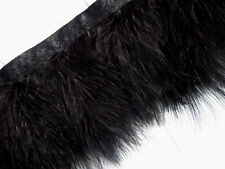 F460 PER30cm - Black Turkey Marabou Hackle Fluffy Feather Fringe Trim Craft