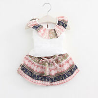 2PCS Toddler Kids Baby Girls Outfit Clothes Floral Tops T-shirt+Shorts Pants Set