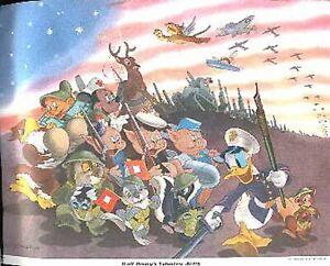 DONALD DUCK & MICKEY MOUSE 1942 ANTI-HITLER ART WORLD WAR II PT BOAT BAMBI DUMBO