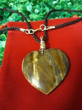Wire Wrapped Tiger's Eye Heart Gemstone Necklace Pendant