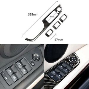 Carbon Fiber Window Switch Buttons Cover Trim fit For BMW 3 Series E90 320i 330i