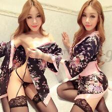 Sexy Japanese Lingerie Set Women Sakura Uniforms Cosplay Kimono Babydolls