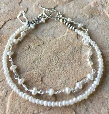 "Seed Pearl, Rosary Chain Sterling Silver Pave Heart charm ""Kai Keiki"" Bracelet"