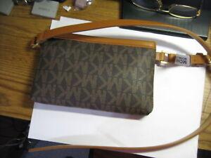 Michael Kors Signature MK Leather Fanny Pack Belt Bag Sz L Brown MSRP $68 NWT