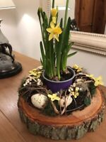 Easter spring table centre wreath decoration with a real rustic log slice