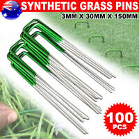 100 Synthetic Artificial Grass Pins Fake Lawn Turf Weed Pad Mat fixed U Pegs Peg