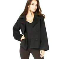 New Womens Black Casual Smart Jacket Ladies Warm Coat Poppers Wide Sleeves