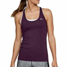 Under Armour UA HeatGear Ladies Merlot Racer Tank Sports Gym Running Vest