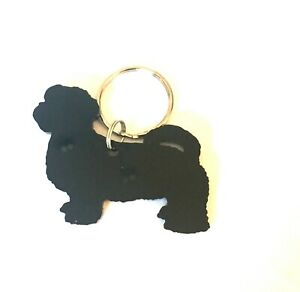 Shi Tzu Dog Keyring Bag Charm Lanyard Keychain Gift In Black