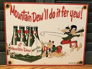 """VINTAGE 1964 DATED MOUNTAIN DEW PORCELAIN 12"""" SIGN HILLBILLY SODA POP COLA"""