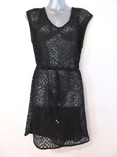 NEW Sheer Black Lace Embroidered Dress Throwover Stretch Beach OS