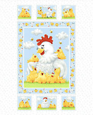White Pippa & Chicks Quilt Panel DIY Quilt Panel Fabric 36x43 inches Susybee