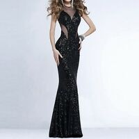 Lady Black Shiny Sheer Lace Backless Long Ball Gown Evening Cocktail Prom Dress