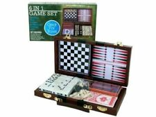 Travel Game Set, 6 in 1 Family Board Games Dominoes, Chess, Checkers Wooden Case