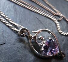vintage 925 STERLING SILVER purple stone heart pendant chain necklace -A168