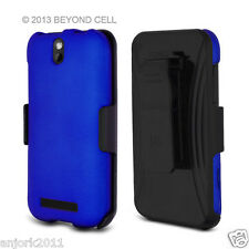 HTC One SV Cricket Boost Hard Case+Holster Combo w/ Swivel Belt Clip Blue