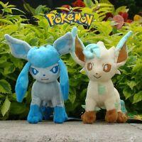 "2Pcs Pokemon Plush Toy Leafeon & Glaceon 7"" Game Cute Stuffed Animal Doll NWT"