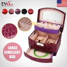 Professional Luxury Large Jewellery Box Watch Earring Ring Bracelet Storage New