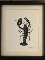 European Lobster Original Watercolour Painting, Signed Art Not A Print, Gift