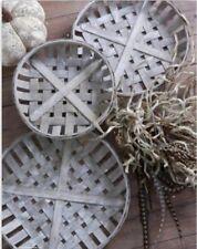 Grey Round Tobacco Basket Set of 3