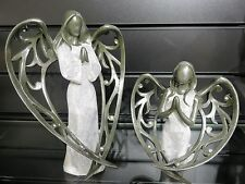 Set of 2 PRAYING ANGELS With Wings Ornament Figurine Memorial Home Decoration