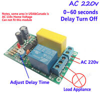 AC 220v 0~60s Delay time Relay Switch Delay turn off timer Module for Stair Lamp