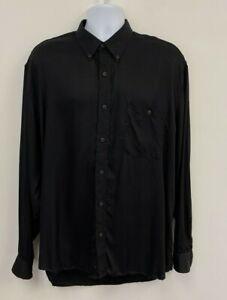 Men's Joseph Abboud 100% Lyocell Black Long Sleeve Button-down Dress Shirt, XL