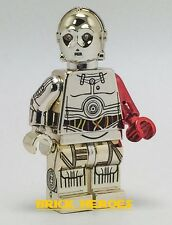 Custom Lego Star Wars Force Awakens Minifigure Chrome Gold C-3PO C3PO Red Arm