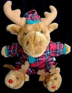 "Dan Dee-Christmas/Holiday Plaid Pajamas Hat/Stuffed Plush Moose 14""-EUC"
