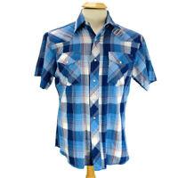 Wrangler Mens Western Shirt Pearl Snap Short Sleeve Blue Plaid Size Med M