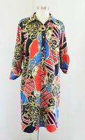 Tahari ASL Levine Red Blue Gold Bold Striped Scarf Print Shift Dress Size 10
